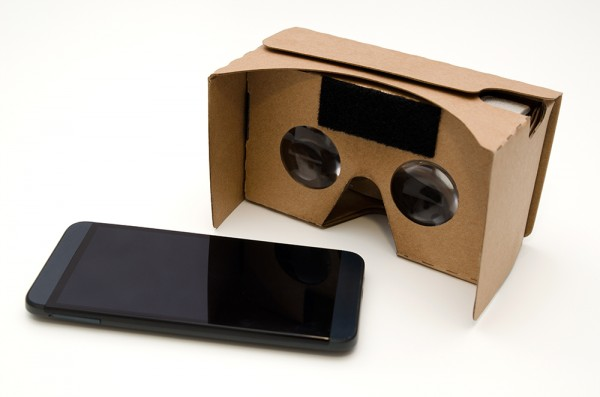Adobe stock photo of cardboard VR glasses to play games in 3D.