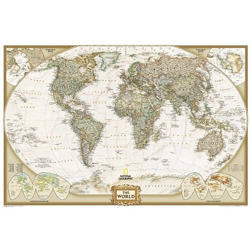 World Executive Poster Sized Wall Map